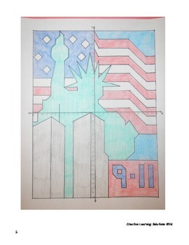 Coordinate Plane Graphing Activity:9-11 Memorial with Statue of Liberty