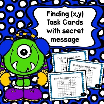 #tptsupportsmallshops Ordered Pairs Finding (x,y) Task Card with Secret Message