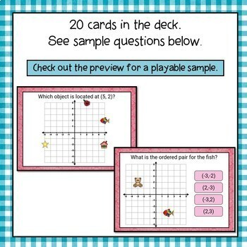 Coordinate Plane Four Quadrants Digital Interactive Boom Cards Distance Learning