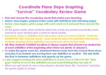 Coordinate Plane - Functions - Graphing VOCABULARY SURVIVOR Review Game