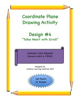 Coordinate Plane Graphing Activity: Tatoo Heart With Scroll