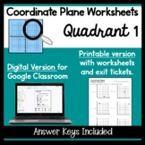 Coordinate Plane Quadrant One Worksheets