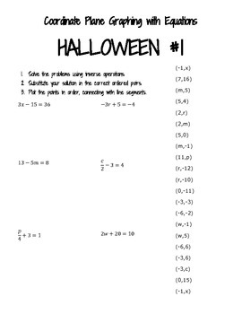 Coordinate Plane Graphing with Equations for Halloween (#1 Bat)