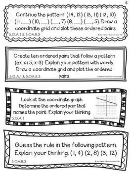 Coordinate Plane Math Journal Prompts 5th Grade