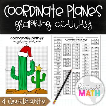 Coordinate Plane Graphing Activity: CHRISTMAS CACTUS! (4 Quadrants)