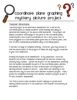 Coordinate Plane Mystery Picture Project