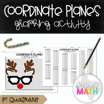 "Coordinate Plane Graphing Activity: ""Studious Reindeer"" (1st Quadrant)"