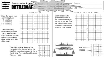 Coordinate Plane Plotting Points Battleboat Activity