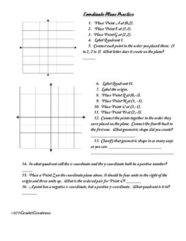 Geometry Fun--Coordinate Plane Practice and Activity