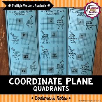 Coordinate Plane Quadrant Bookmark Notes