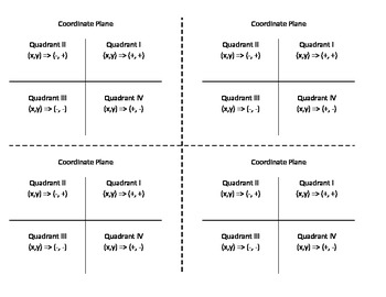 Coordinate Plane Quadrants Gluable Notes