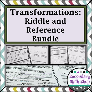 Transformations -Coordinate Plane Riddle Worksheet & Quick Reference Mini-BUNDLE