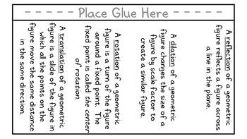 Coordinate Plane Transformations Vocabulary Foldable