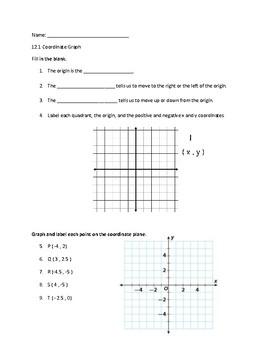 Coordinate Plane Worksheet or Quiz