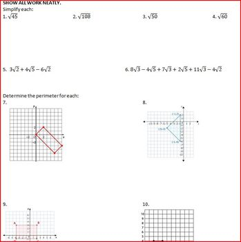 Coordinate Plane and Radicals (WS)
