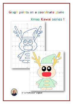 Coordinate Plane : points & graphing for a kawai reindeer !