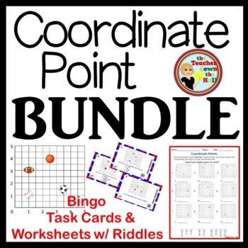 Coordinate Point BUNDLE -Bingo/Task Cards/Worksheets w/ Riddles