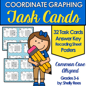 Coordinate Points on a Graph Task Cards and Posters Set