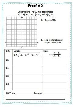 Coordinate Proof Booklet - Classifying Quadrilaterals