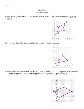 Coordinate Proofs Worksheet with Answers