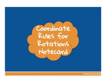 Coordinate Rules for Rotations Notecard