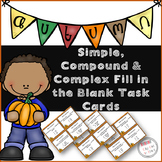 Coordinate and Subordinate Conjunction Fill in the Blank Task Cards