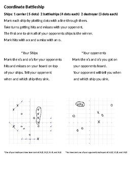 Coordinate battleship student game card ( to go with coordinate battleship ppt.)