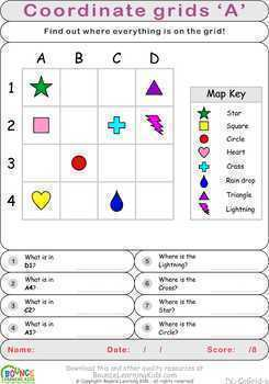 Coordinate grids (7 distance learning worksheets for Visual perception)