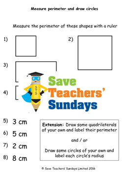 Measuring perimeter and drawing circles worksheets (3 levels of difficulty)