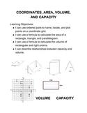 Coordinates, Area, Volume and Capacity Math Menu