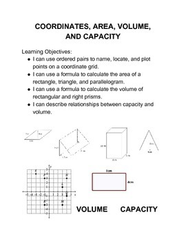 Coordinates, Area, Volume and Capacity Math Menu