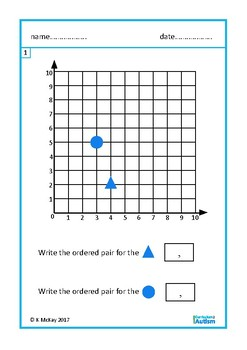 Coordinates Ordered Pairs Autism Special Education Independent Task