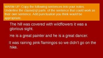 Coordinating Conjunction& Comma  Mini Lesson