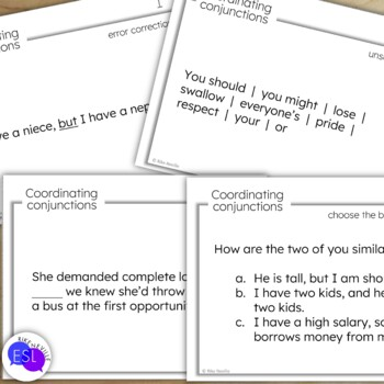 Coordinating Conjunction Task Cards for Secondary to Adult Students