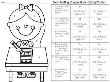 Coordinating Conjunctions Color-By-Number