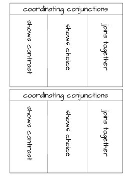 Coordinating Conjunctions Interactive Notebook Page