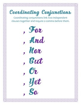 Coordinating Conjunctions Poster