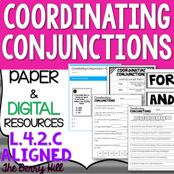 Coordinating Conjunctions - Reference, Practice, Task Cards - L.4.2.c - FANBOYS