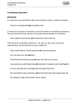 Coordinating Conjunctions Worksheet