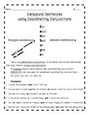 Coordinating Conjunctions and Compound Sentences note page