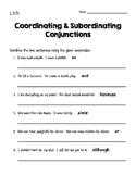 Coordinating & Subordinating Conjunctions