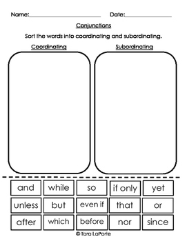 Coordinating & Subordinating Conjunctions L3.1h