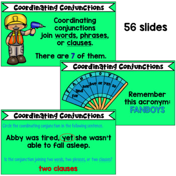 Conjunctions PowerPoint: Coordinating and Subordinating Conjunctions