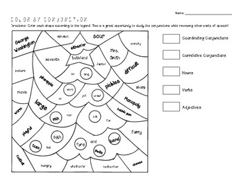 Coordinating and Correlative Conjunction coloring sheet