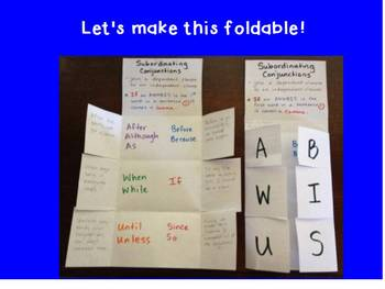 Coordinating and Subordinating Conjunctions Flipchart and Activities