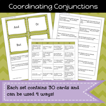 Coordinating and Subordinating Conjunctions Game/Sort Pack