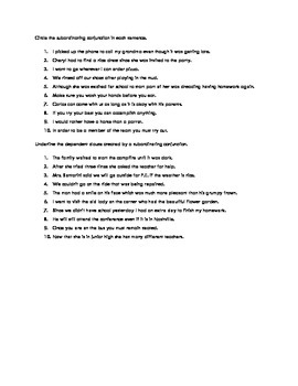Coordinating and Subordinating Conjunctions Worksheet
