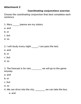 Coordinating conjunctions lesson plan