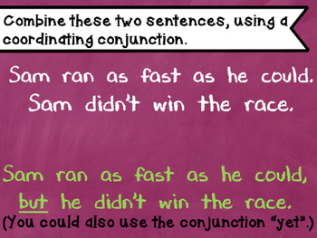 Coordinating conjunctions power point