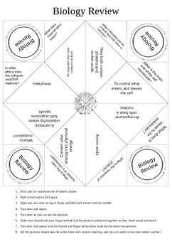 Cootie Catcher Biology Review